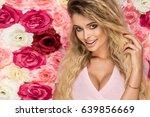 beautiful blonde girl in pink... | Shutterstock . vector #639856669