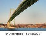 The MacKay Bridge over Halifax Harbor at dusk.