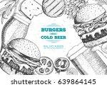 beer and burgers vector... | Shutterstock .eps vector #639864145
