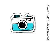 camera doodle icon  sticker | Shutterstock .eps vector #639868999