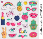 set of cute and trendy patches. ... | Shutterstock .eps vector #639886669