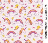 dreamy pattern with unicorns... | Shutterstock .eps vector #639886675