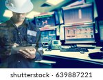 double exposure of  engineer or ... | Shutterstock . vector #639887221