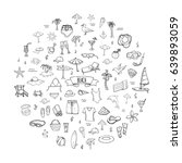 hand drawn doodle beach set... | Shutterstock .eps vector #639893059