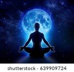 Yoga Woman In Full Blue Moon...