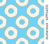 round donuts with white glaze... | Shutterstock .eps vector #639916531