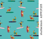 summer seamless pattern. funny... | Shutterstock .eps vector #639919105