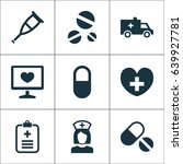 medicine icons set. collection... | Shutterstock .eps vector #639927781