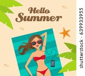 hello summer background with a... | Shutterstock .eps vector #639933955