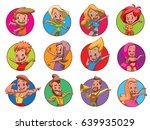 vector set of twelve round... | Shutterstock .eps vector #639935029