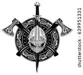 viking helmet  crossed viking... | Shutterstock .eps vector #639951331