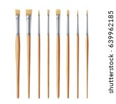 realistic artist paintbrushes... | Shutterstock . vector #639962185