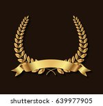 golden leaves wreath.laurel... | Shutterstock .eps vector #639977905