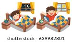 a little boy sleeping on... | Shutterstock .eps vector #639982801