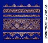 set of vintage gold borders ... | Shutterstock .eps vector #639985255