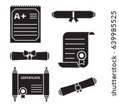 diploma scroll icon set in... | Shutterstock .eps vector #639985525