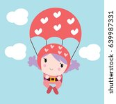 little girl skydiving cartoon... | Shutterstock .eps vector #639987331