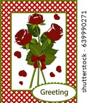 greeting card three red roses | Shutterstock .eps vector #639990271