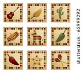square mexican decorations with ... | Shutterstock .eps vector #63999292