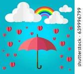 umbrella with rain heart love... | Shutterstock .eps vector #639996799