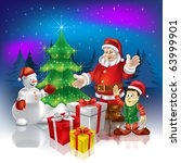 christmas greeting santa with... | Shutterstock . vector #63999901