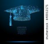 polygonal graduation cap.... | Shutterstock .eps vector #640012171