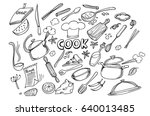 hand drawn doodles of cook... | Shutterstock .eps vector #640013485