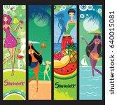vector set of summer banners... | Shutterstock .eps vector #640015081