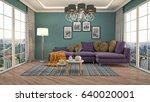 interior living room. 3d... | Shutterstock . vector #640020001