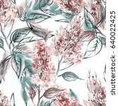 lilac seamless pattern.... | Shutterstock . vector #640022425