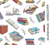 different books from library.... | Shutterstock .eps vector #640022599