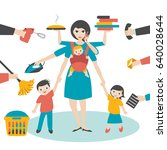 multitask woman. mother ... | Shutterstock .eps vector #640028644