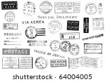 a set of nineteen large postal... | Shutterstock . vector #64004005