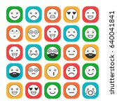 colored flat icons of emoticons.... | Shutterstock .eps vector #640041841