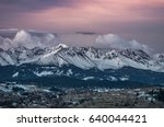 dawn panorama of snowytatra... | Shutterstock . vector #640044421