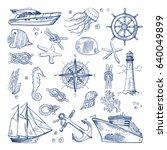 sea or ocean underwater life... | Shutterstock .eps vector #640049899