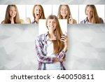 young european girl hiding... | Shutterstock . vector #640050811