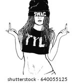rap swag girl | Shutterstock .eps vector #640055125