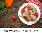 boiled grilled sausages with... | Shutterstock . vector #640057309