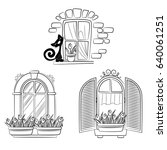 set of windows with flower... | Shutterstock .eps vector #640061251