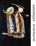 herring fillet marinated ... | Shutterstock . vector #640062604