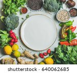 clean eating healthy cooking... | Shutterstock . vector #640062685