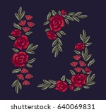 set of embroidered flowers.... | Shutterstock .eps vector #640069831
