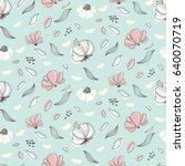 seamless flower pattern. soft... | Shutterstock .eps vector #640070719