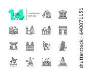 landmarks   modern single line... | Shutterstock . vector #640071151