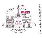 france   modern vector line... | Shutterstock .eps vector #640071295