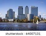 Canary Wharf view from Greenwich. - stock photo