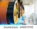 rotating rubberized wheels of...   Shutterstock . vector #640072705