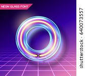 retro neon glowing glass... | Shutterstock .eps vector #640073557