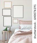 mock up posters in living room... | Shutterstock . vector #640076191